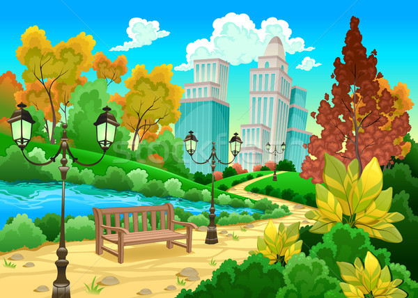 Urbano cenário naturalismo jardim desenho animado cidade Foto stock © ddraw