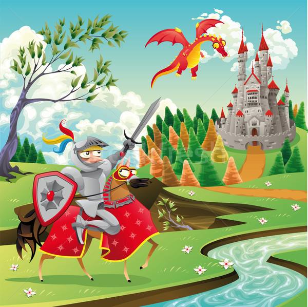 Foto stock: Panorama · medieval · castillo · dragón · caballero · Cartoon