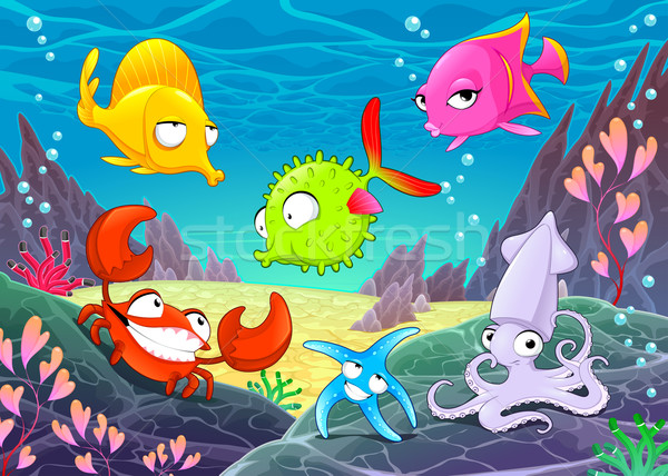 смешные счастливым животные морем вектора Cartoon Сток-фото © ddraw