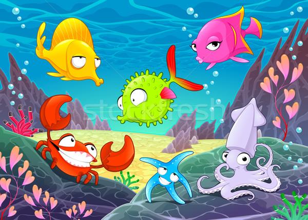 Drôle heureux animaux mer vecteur cartoon Photo stock © ddraw