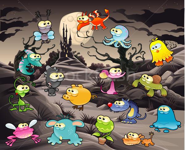 Grappig monster landschap kasteel vector cartoon Stockfoto © ddraw
