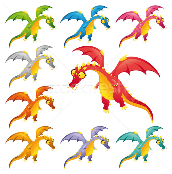 Stock photo: Set of colored dragons.