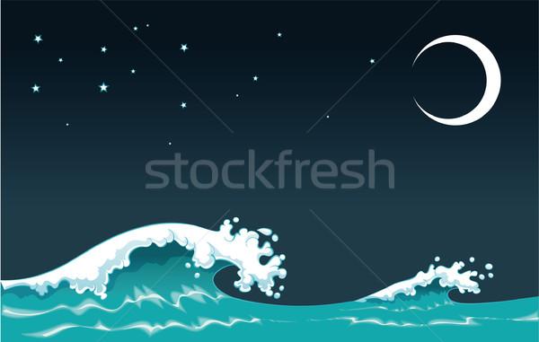 Fali noc pojedyncze obiekty niebo miłości star Zdjęcia stock © ddraw
