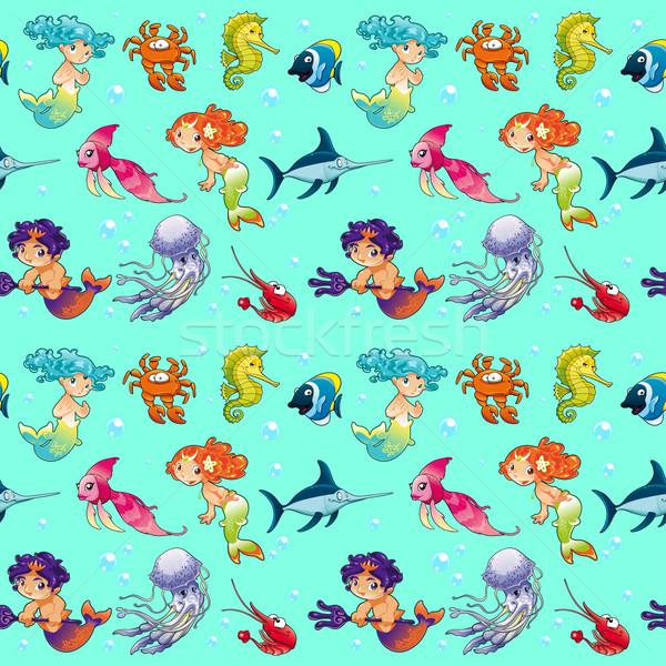 Grappig zeedieren herhalen mogelijk verpakking grafische Stockfoto © ddraw