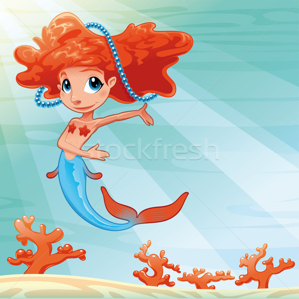 Young mermaid with background. Stock photo © ddraw