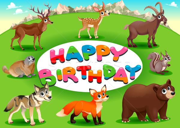 Happy Birthday card with mountain animals Stock photo © ddraw