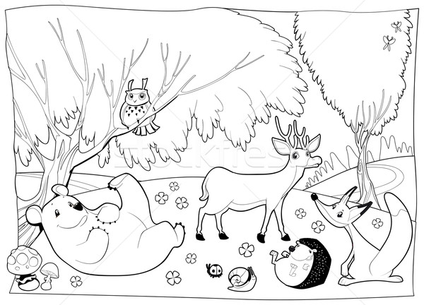 Animals in the wood, black and white.  Stock photo © ddraw