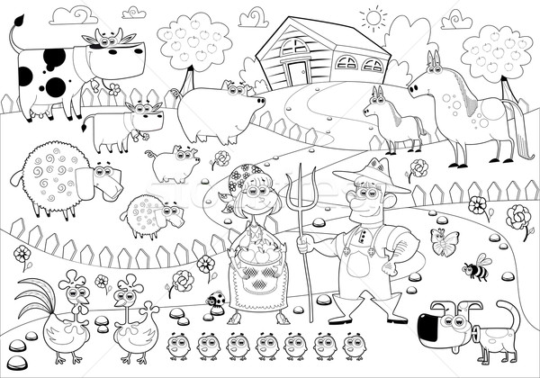 Stock photo: Funny farm family in black and white.
