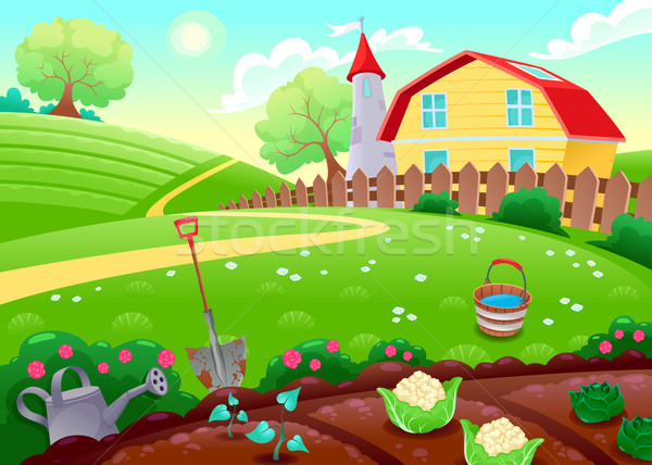 Funny countryside scenery with vegetable garden Stock photo © ddraw