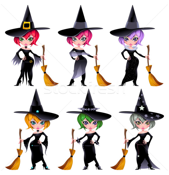 Set of funny witches. Stock photo © ddraw