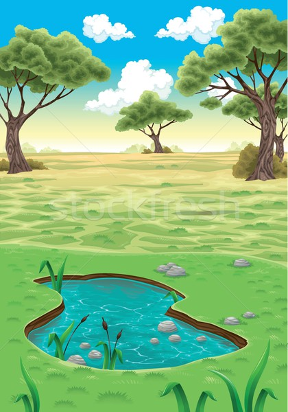 Natuurlijke landschap vector realistisch illustratie water Stockfoto © ddraw