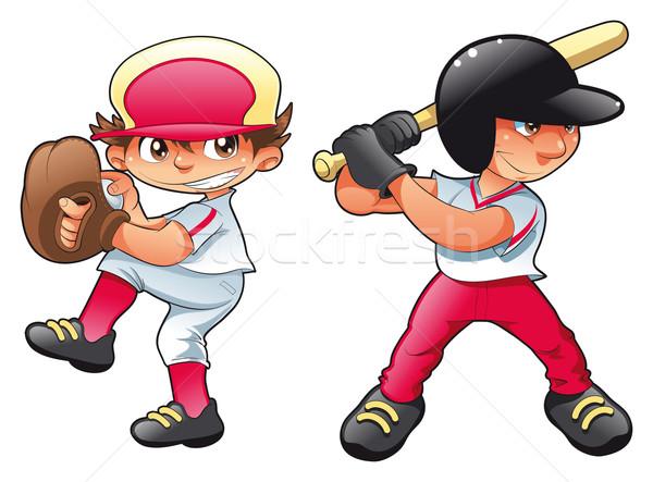 Jonge baseball spelers grappig cartoon vector Stockfoto © ddraw