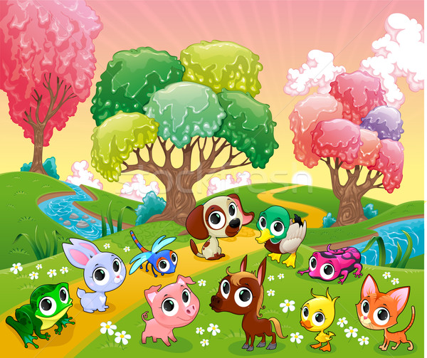 Funny animals in the magic wood Stock photo © ddraw