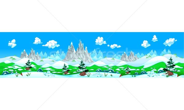 Landschaft Schnee Berge ipad Bildschirm wiederholen Stock foto © ddraw