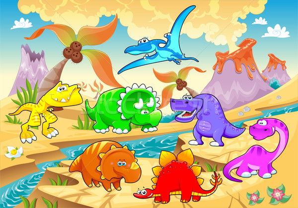 Dinosaurs rainbow in landscape.  Stock photo © ddraw