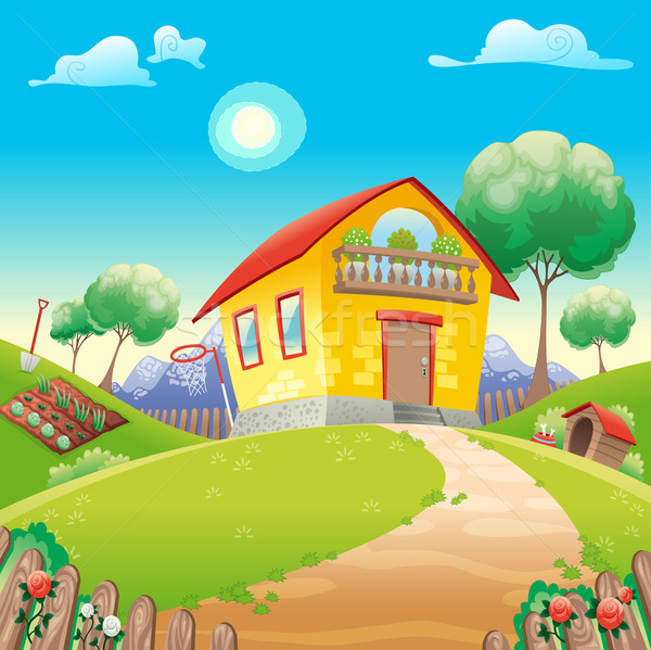 House with garden int the countryside Stock photo © ddraw