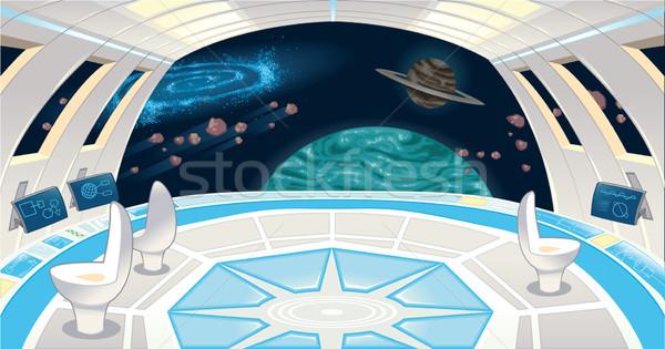 Astronave interior funny Cartoon ordenador tecnología Foto stock © ddraw