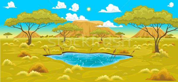 Afrikaanse landschap vector natuurlijke illustratie water Stockfoto © ddraw