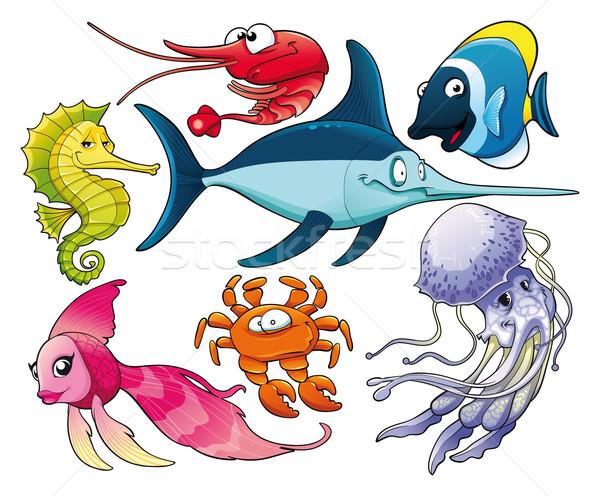 Deniz hayat yalıtılmış karikatür vektör Stok fotoğraf © ddraw