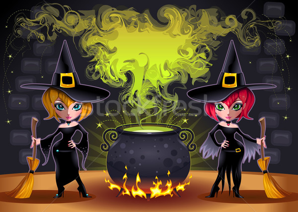 Funny witches with pot. Stock photo © ddraw
