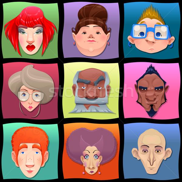 Mensen vector cartoon illustratie kinderen man Stockfoto © ddraw