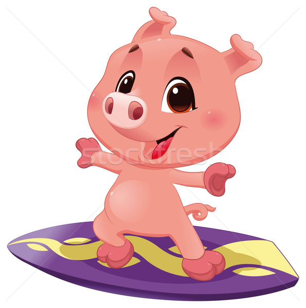 Pig with surf. Stock photo © ddraw