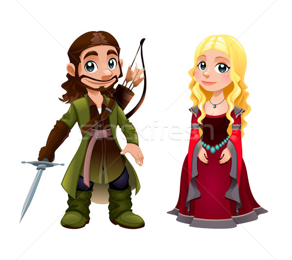 Medieval Couple: Knight and Princess Stock photo © ddraw