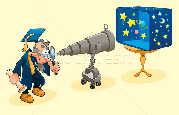 ученого телескопом человека школы окна контроля Сток-фото © ddraw