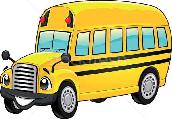 Komik okul otobüsü karikatür vektör yalıtılmış karakter Stok fotoğraf © ddraw