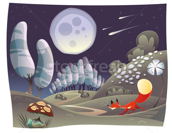 Vos nacht grappig cartoon vector scène Stockfoto © ddraw
