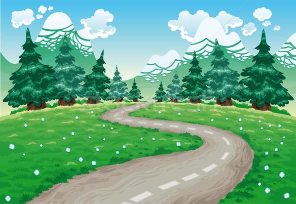 Landschap natuur cartoon geïsoleerde objecten hemel bloem Stockfoto © ddraw
