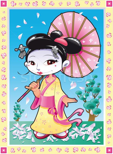 Gueixa engraçado desenho animado céu flor menina Foto stock © ddraw