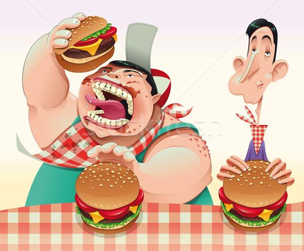 Guys with hamburgers Stock photo © ddraw