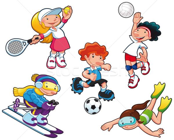 Esportes desenho animado vetor isolado meninos Foto stock © ddraw