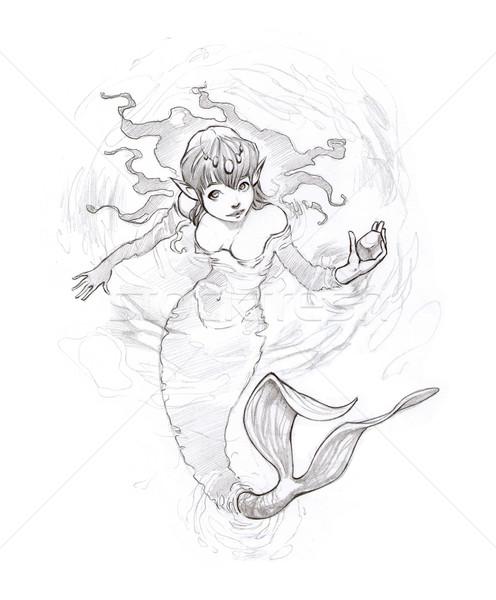 Zeemeermin water stuk goud potlood schets Stockfoto © ddraw