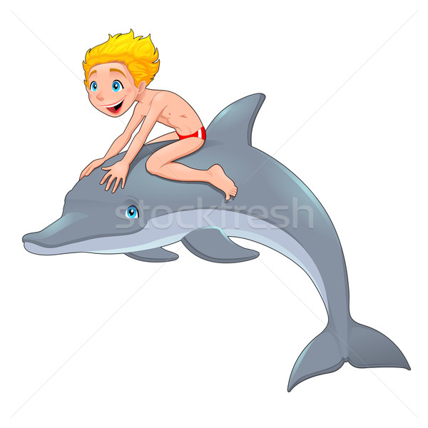 The boy and the dolphin Stock photo © ddraw