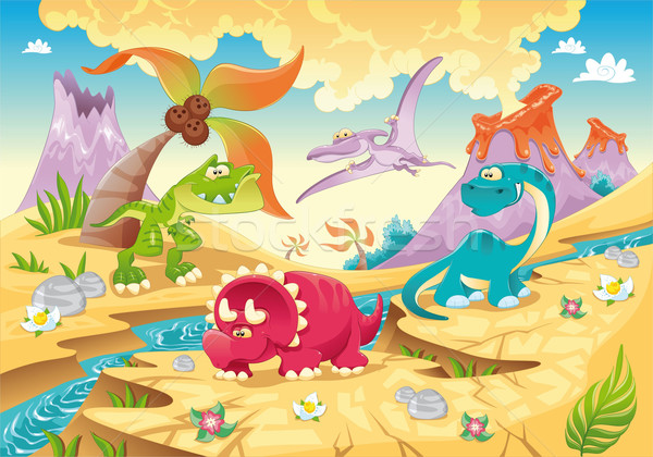 Dinosaurs Family with background.  Stock photo © ddraw