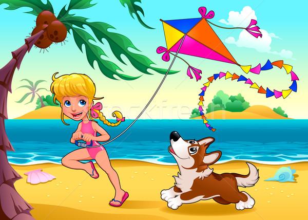 Grappig scène meisje hond strand vector Stockfoto © ddraw