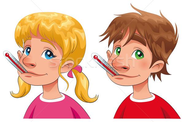 Сток-фото: мальчика · девушки · термометра · Cartoon · вектора