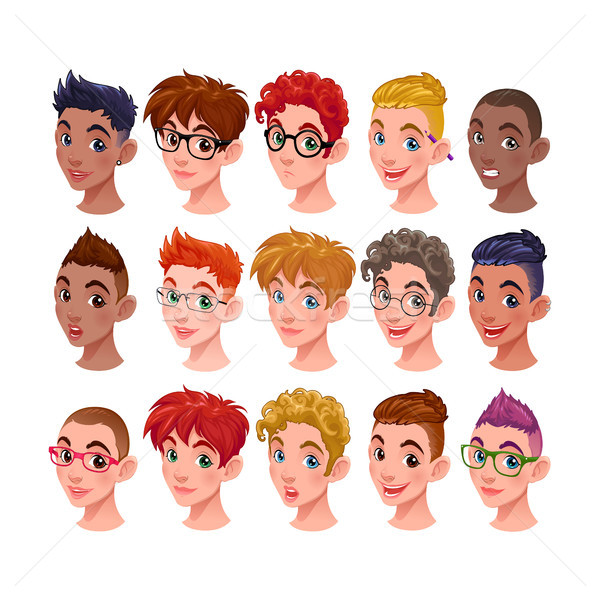 Set of boys with different hairstyles and accessories Stock photo © ddraw
