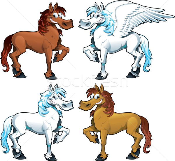 Family of horses and the Pegasus. Stock photo © ddraw