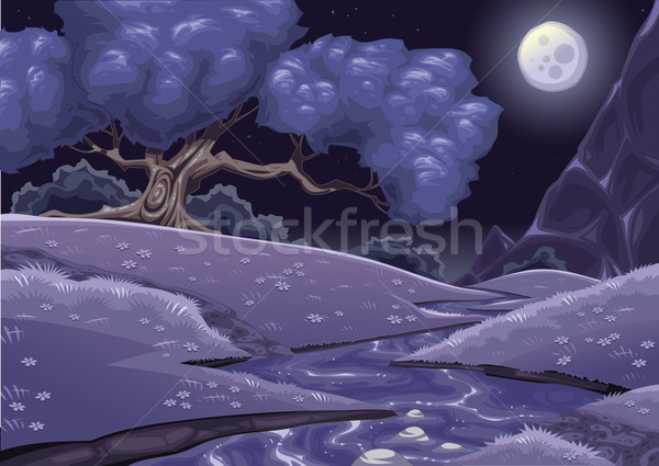 Cartoon nightly landscape with stream. Stock photo © ddraw