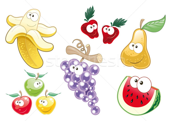 Fruits drôle cartoon sourire école Photo stock © ddraw