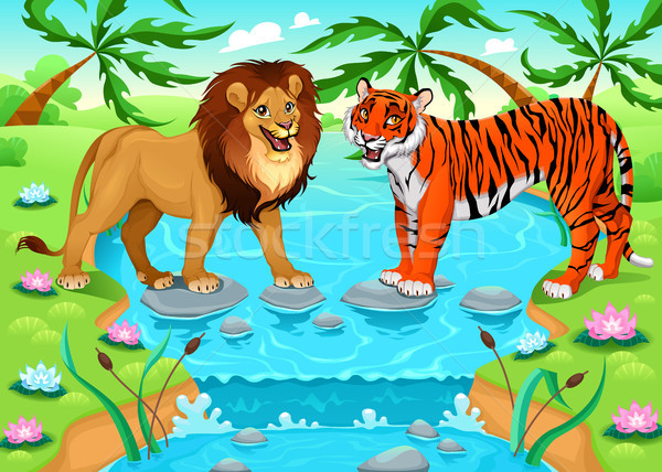 Lion and tiger together in the jungle Stock photo © ddraw