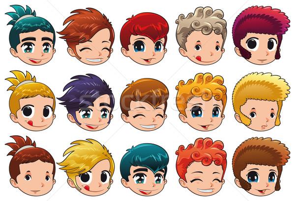 Groep gezichten verschillend uitdrukkingen haren cartoon Stockfoto © ddraw