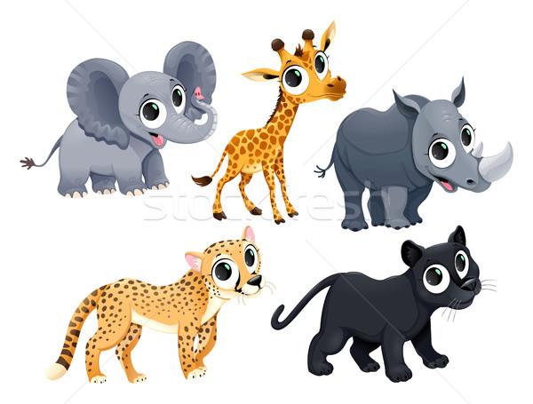 Engraçado africano animais vetor desenho animado isolado Foto stock © ddraw