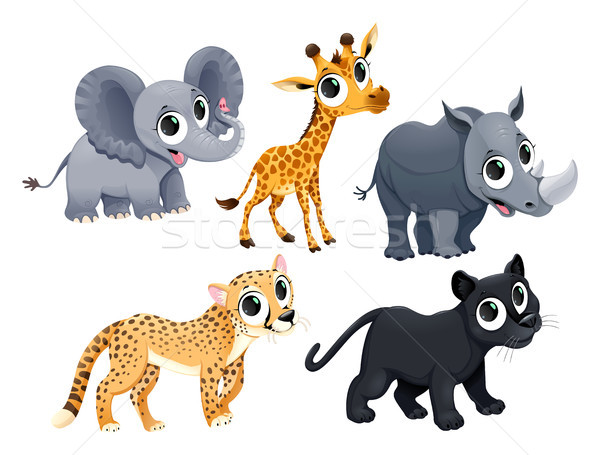 Drôle africaine animaux vecteur cartoon isolé Photo stock © ddraw