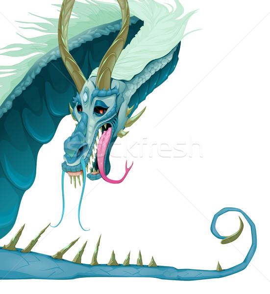 изолированный дракон открытых рот хвост вектора Сток-фото © ddraw