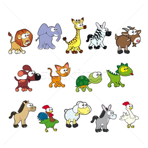 Groep grappig dieren vector cartoon geïsoleerd Stockfoto © ddraw
