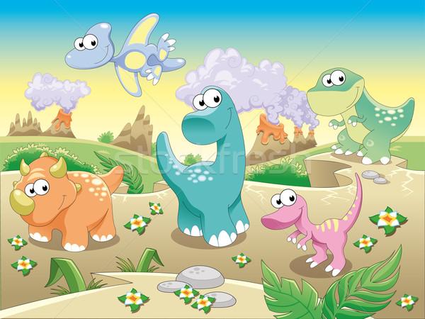 Dinossauros família engraçado desenho animado objetos isolados céu Foto stock © ddraw